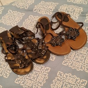 2 pairs of Brown Sandals Steve Madden Size 10